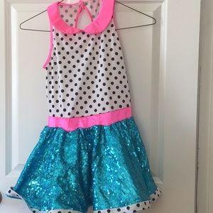 Large dance dress girls black white pink Turquoise